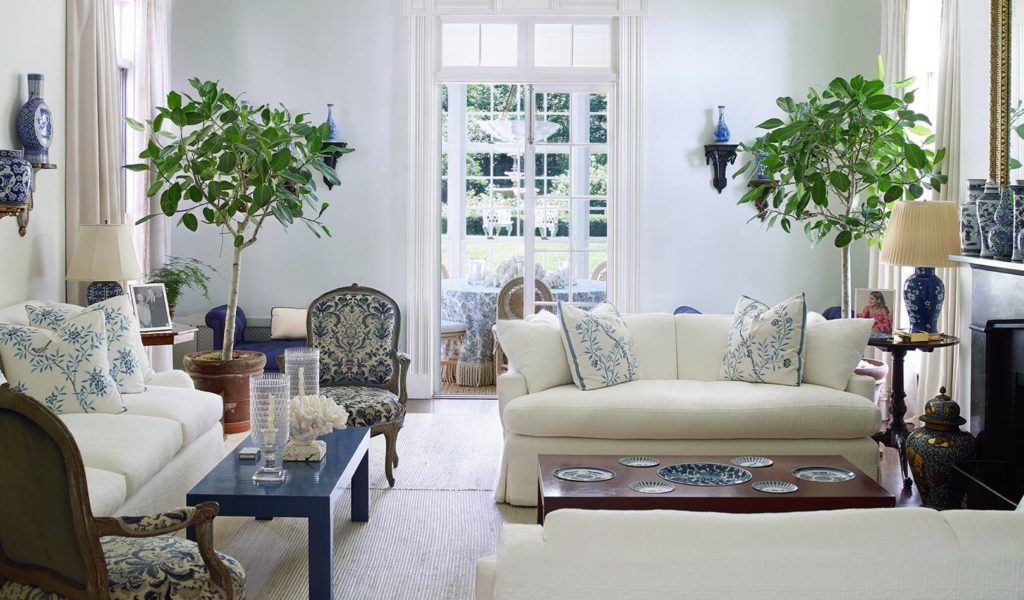 Blue and White Living Room in Aerin Lauder's Hamptons House | Rhyme & Reason