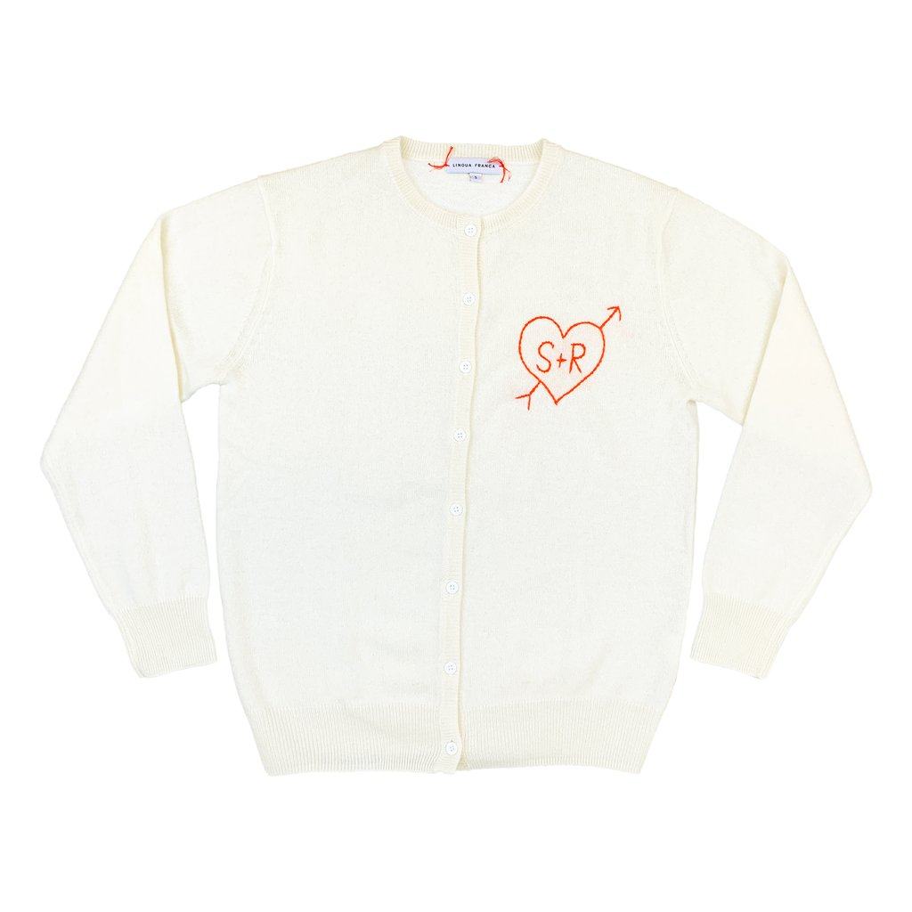 Where To Buy Unique Sweaters: Lingua Franca Personalized Sweater Cardigan | Rhyme & Reason