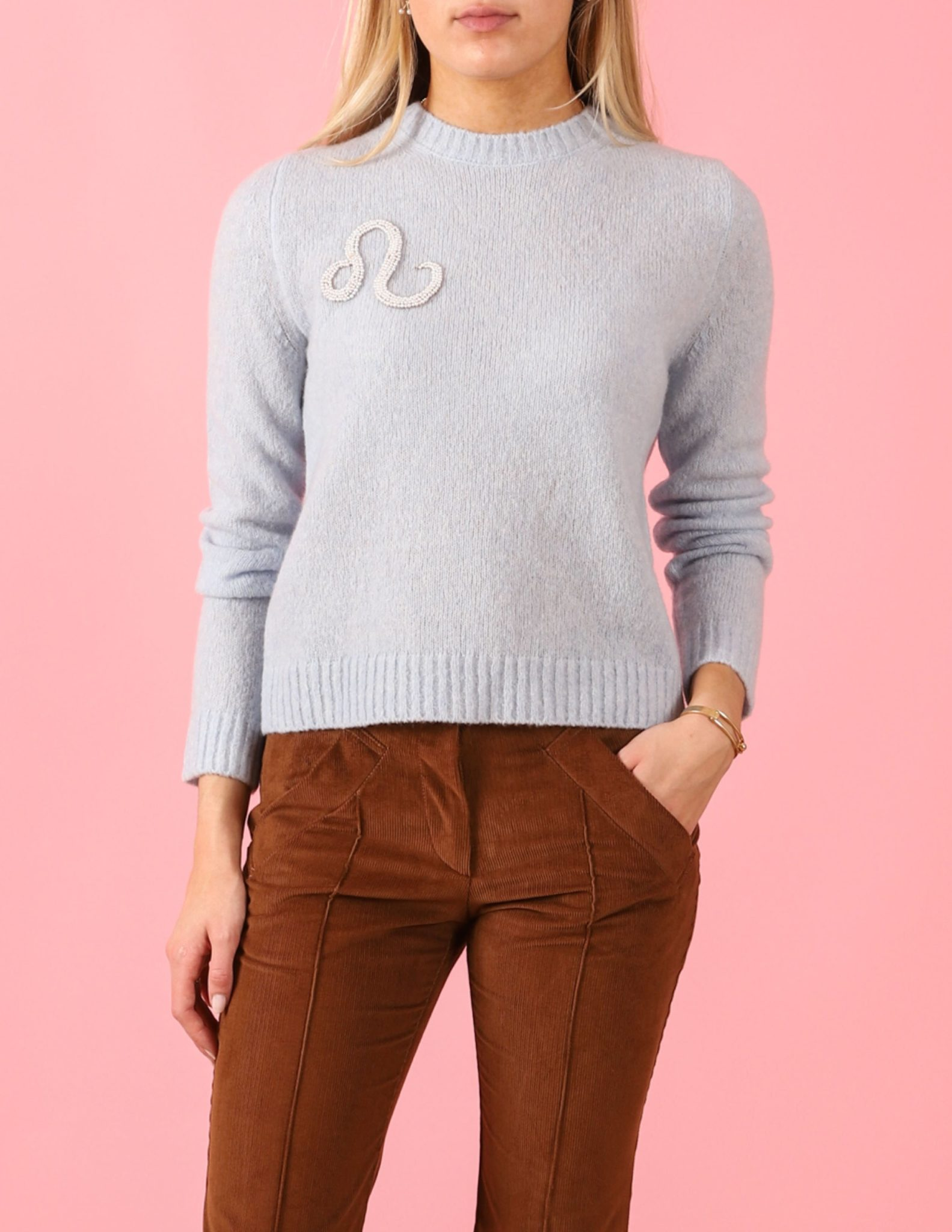Where To Buy Unique Sweaters: Le Lion Boucle Petite Crew with Zodiac | Rhyme & Reason