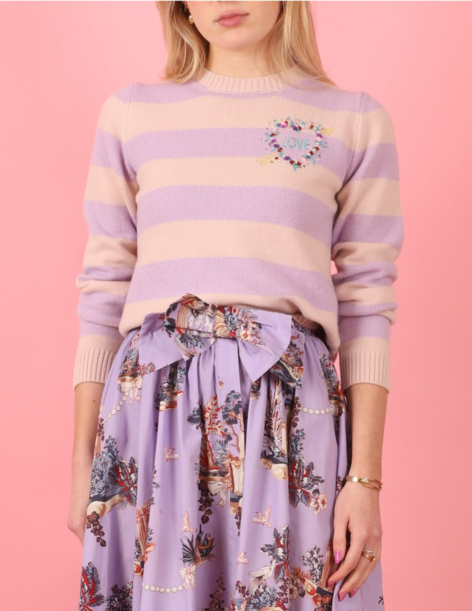 Where To Buy Unique Sweaters: Le Lion Striped Petite Crew with Rainbow Heart | Rhyme & Reason