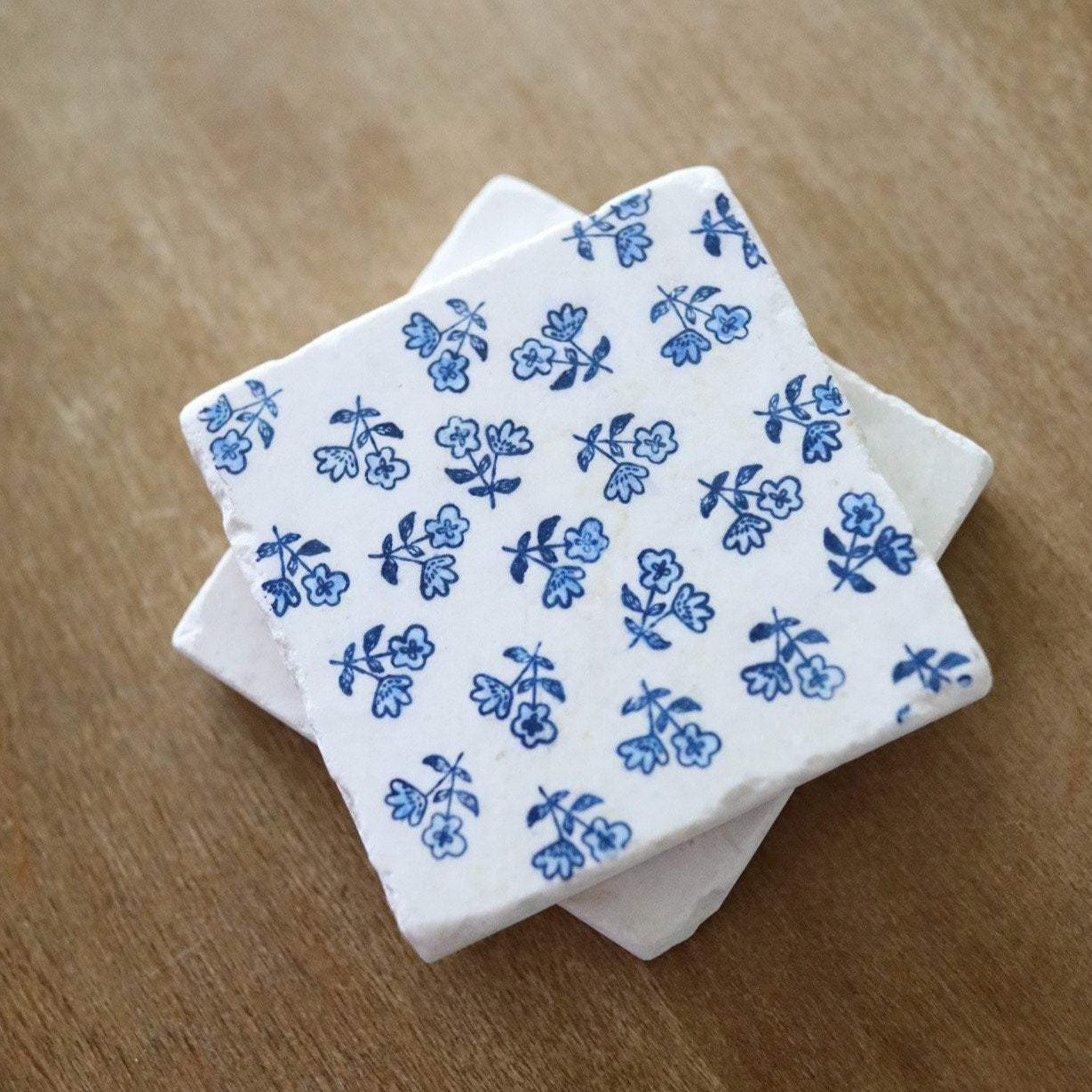Summer Party Hostess Gifts: Lace, Grace, and Peonies Blue Floral Marble Coasters