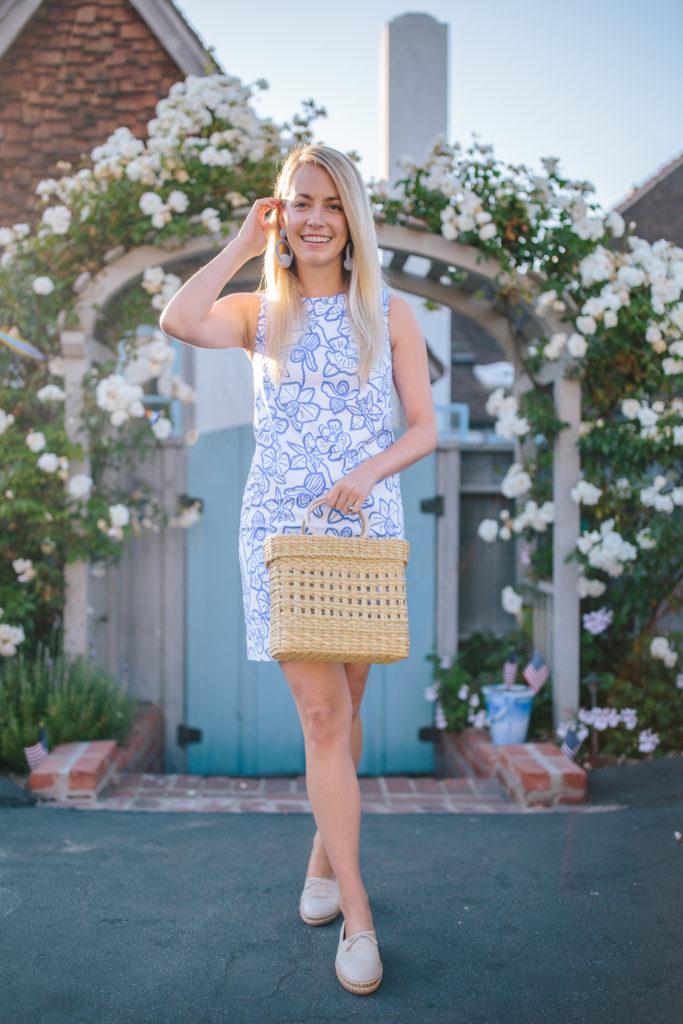 Blue and white floral dresses to buy on sale summer 2020 | Rhyme & Reason