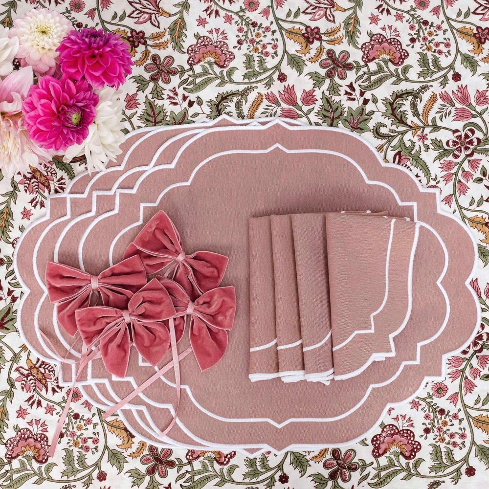 Mrs. Alice Poppy Dusty Pink Napkins and Placemats