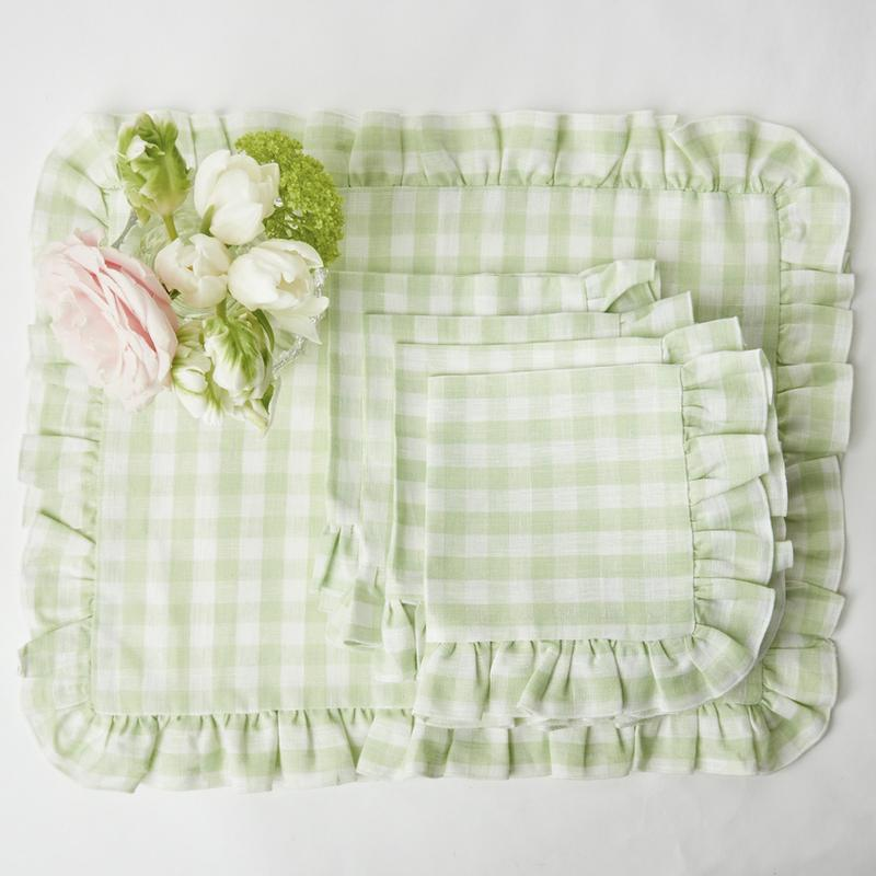 Mrs. Alice Gingham Ruffle Placemats and Napkins