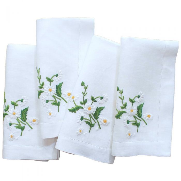 The Well Appointed Home Embroidered Daisy Dinner Napkins