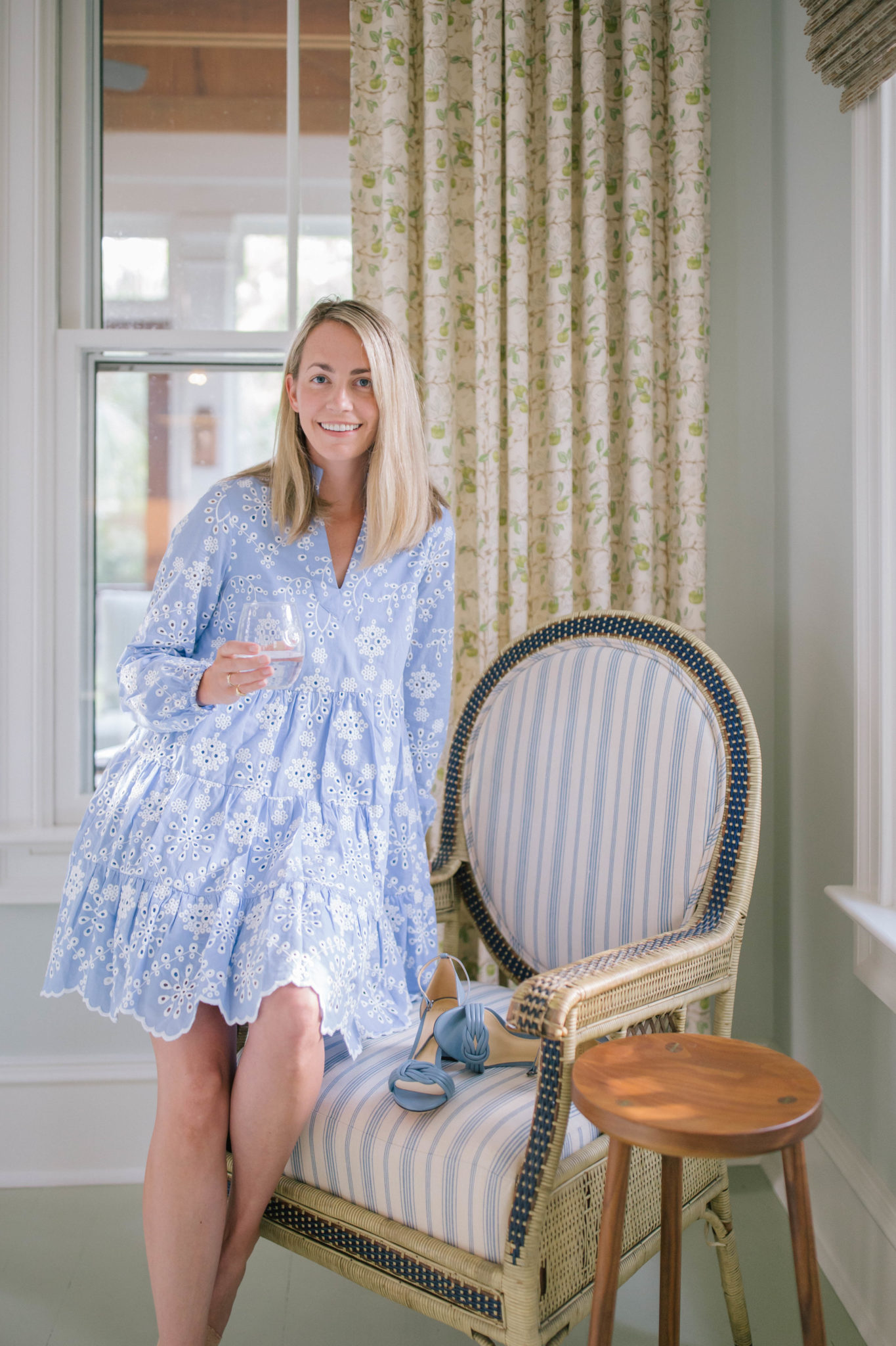 Blue and white eyelet dress for summer | Rhyme & Reason