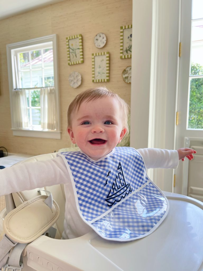 Where to buy cute monogrammed bibs for babies | What We Feed Rowan at 6-9 Months Old | Rhyme & Reason