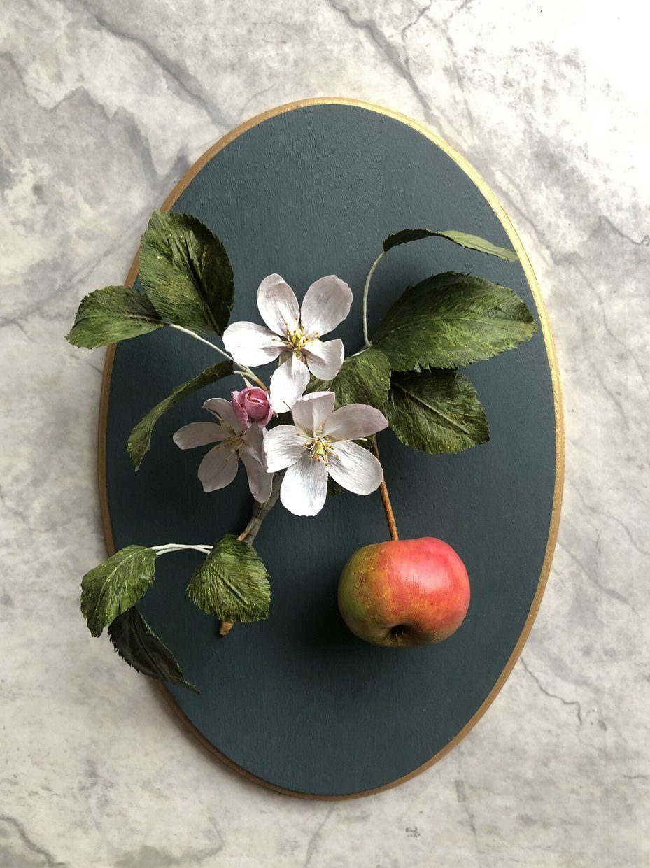 GOLDEN AGE BOTANICALS Crabapple Branch with Blossom   Caught My Eye No.3